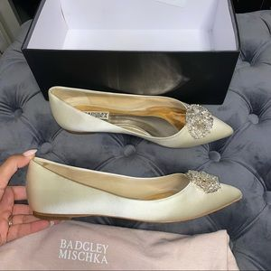 Size 8 Badgley Mischka Colette Ivory Satin Flats